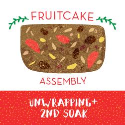 Fruitcake Assembly: Unwrapping+2nd Soak